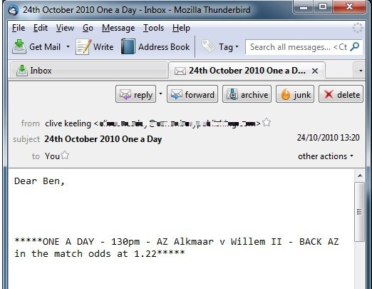 One a Day System email from Clive Keeling